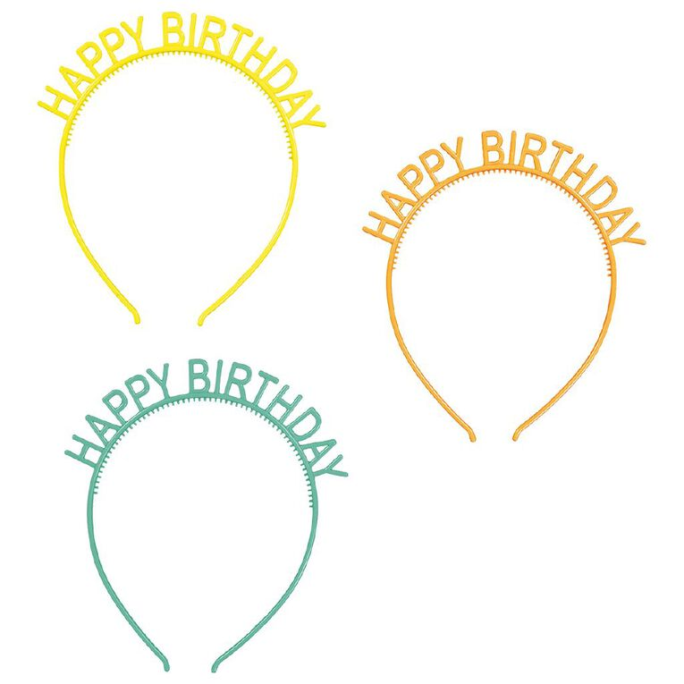 Party Inc Happy Birthday Headbands 3 Pack Assorted, , hi-res