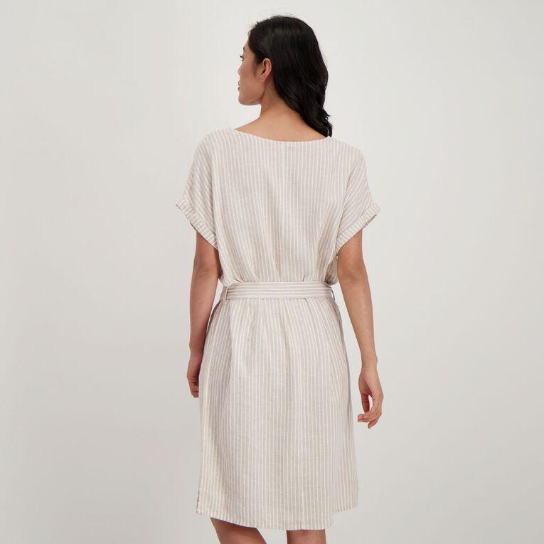H&H Women's Belted Linen Blend Dress, Multi-Coloured, hi-res image number null
