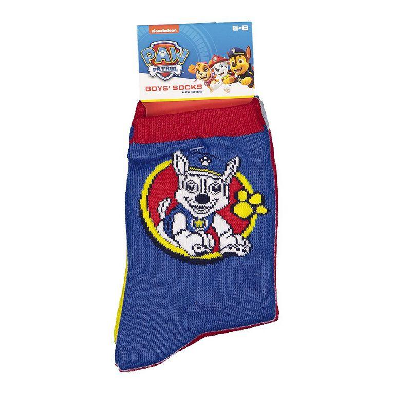 Paw Patrol Boys' Crew Socks 4 Pack, Blue Dark, hi-res