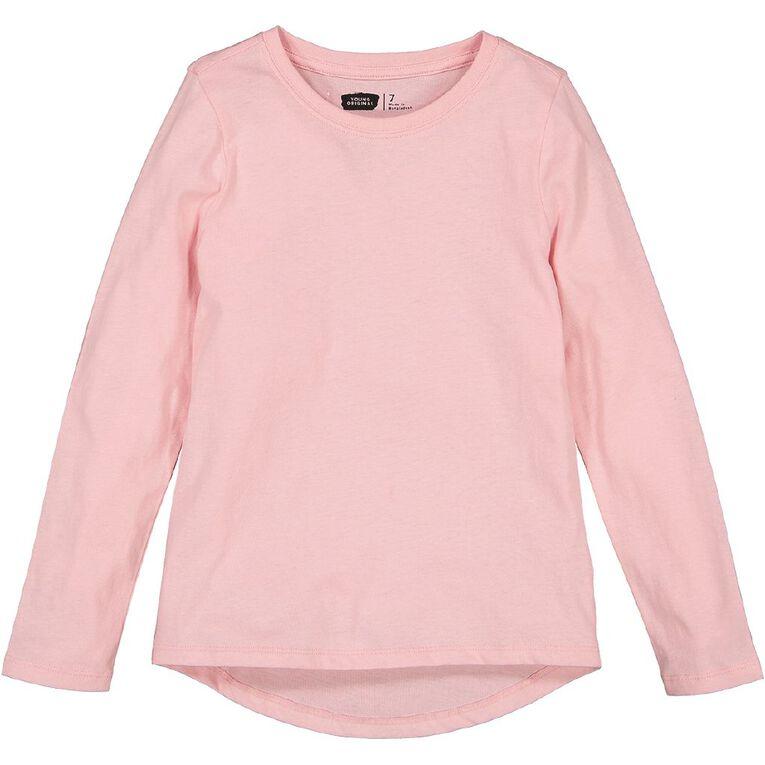 Young Original Long Sleeve Plain Tee, Pink Light, hi-res image number null