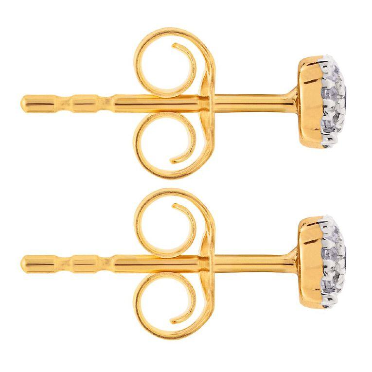 0.10 Carat Diamond 9ct Gold Round Cluster Stud Earrings, , hi-res