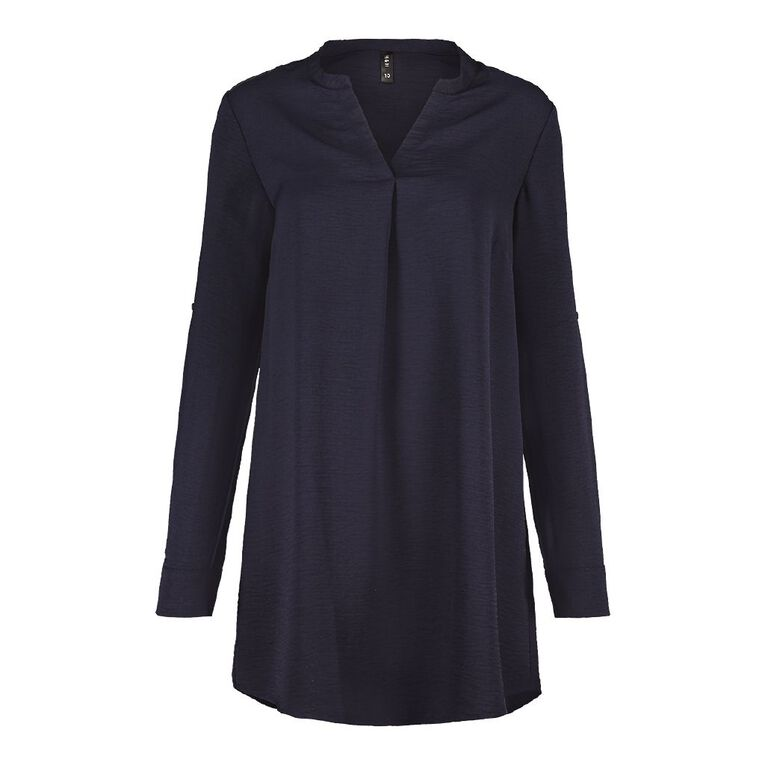 H&H Women's Tuck Front Tunic, Blue Dark, hi-res