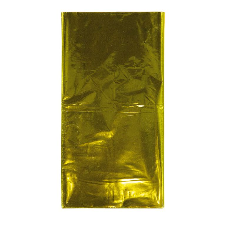 Party Inc Plastic Metallic Tablecover 137cm x 274cm Gold, , hi-res