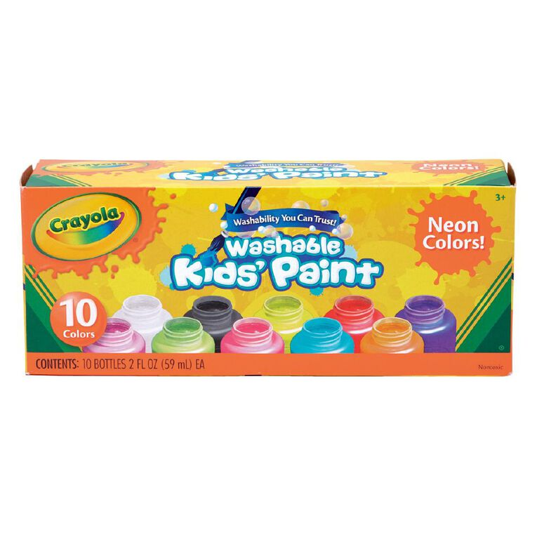 Crayola Washable Neon Kids Paint 10 Pack, , hi-res