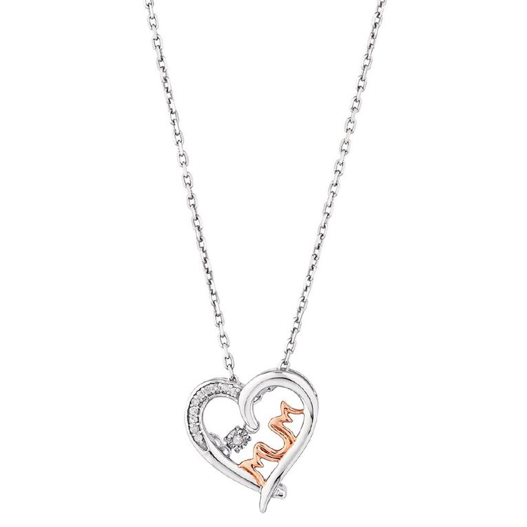 Sterling Silver Rose Gold Plated Diamond Dancing Mum Pendant, , hi-res