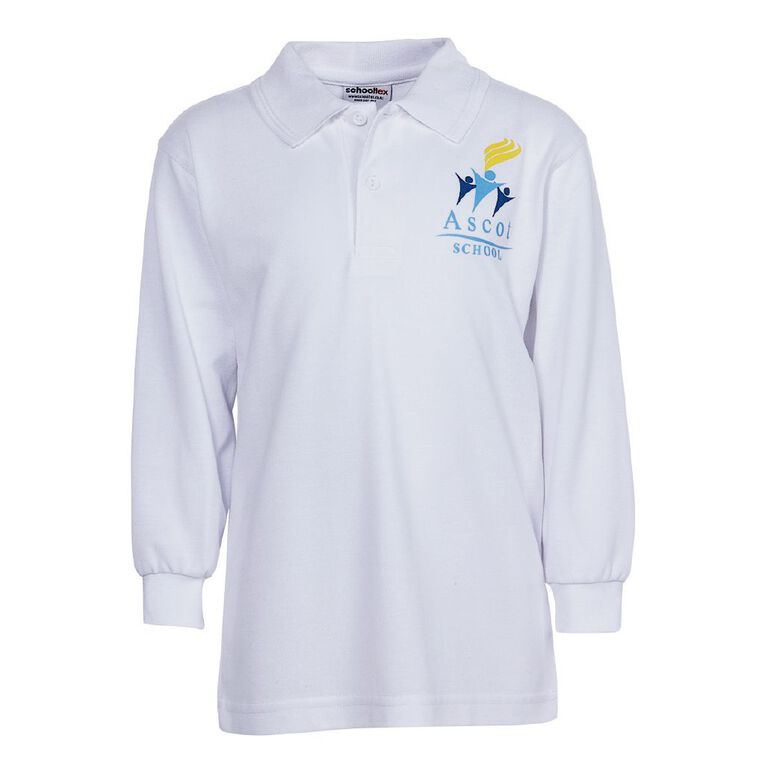 Schooltex Ascot Long Sleeve Polo with Screenprint, White, hi-res
