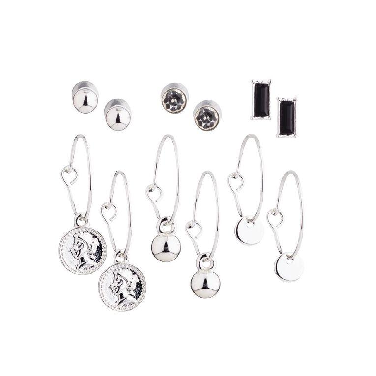 Basics Coin Earring, Silver, hi-res