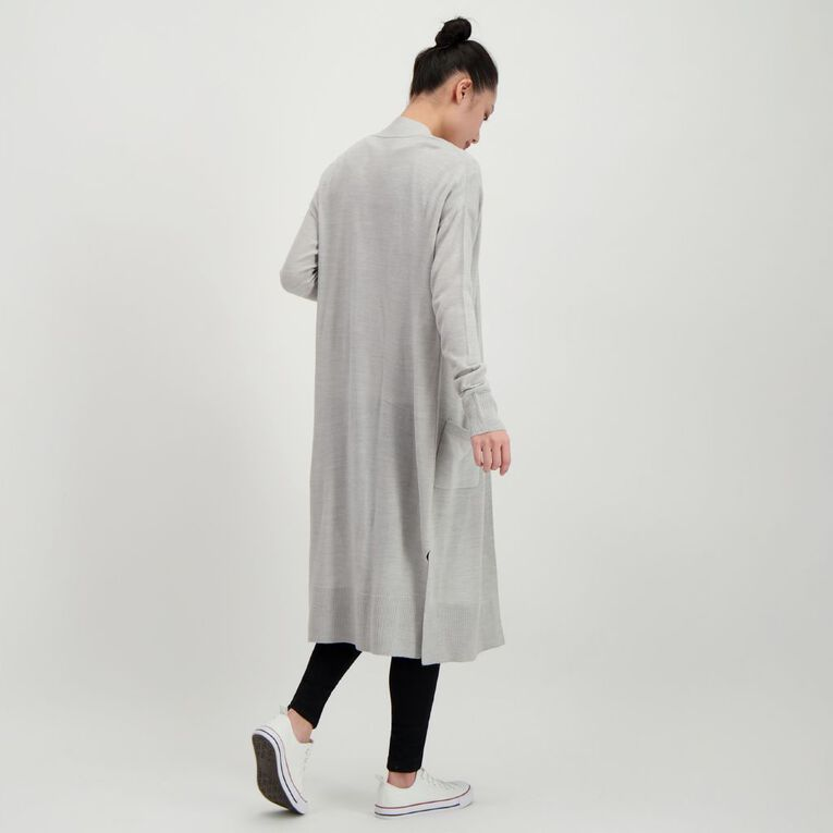 H&H Women's Longline Cardigan, Grey Marle, hi-res