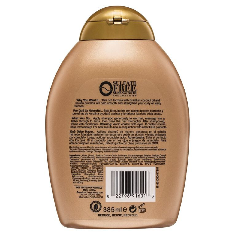 OGX Brazilian Keratin Therapy Shampoo 385mL, , hi-res
