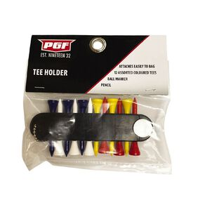 PGF Wooden Tee Holder 12 Pack & 3 Ballmarkerts with Tee Holder