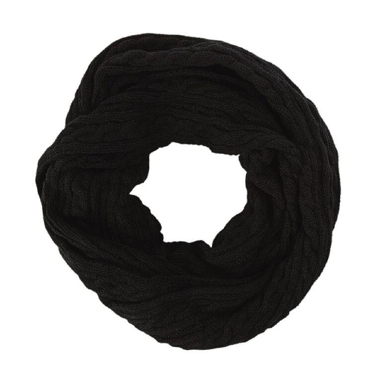 H&H Cable Knit Snood, Black, hi-res