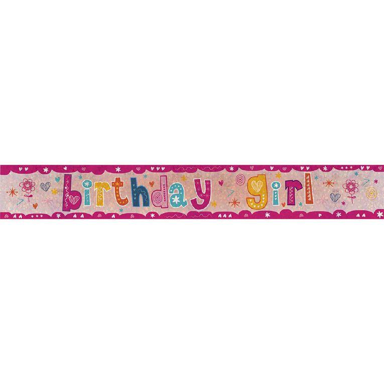 Amscan Happy Birthday Banner Holographic Girl 2.7m, , hi-res