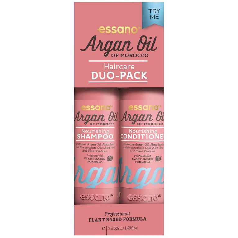 Essano Argan Oil Shampoo and Conditioner Travel Pack 2 x 50ml, , hi-res