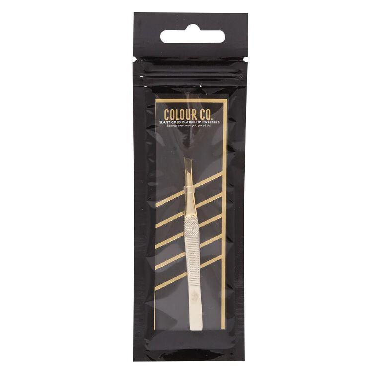Colour Co. Slant Gold Plated Tip Tweezers, , hi-res