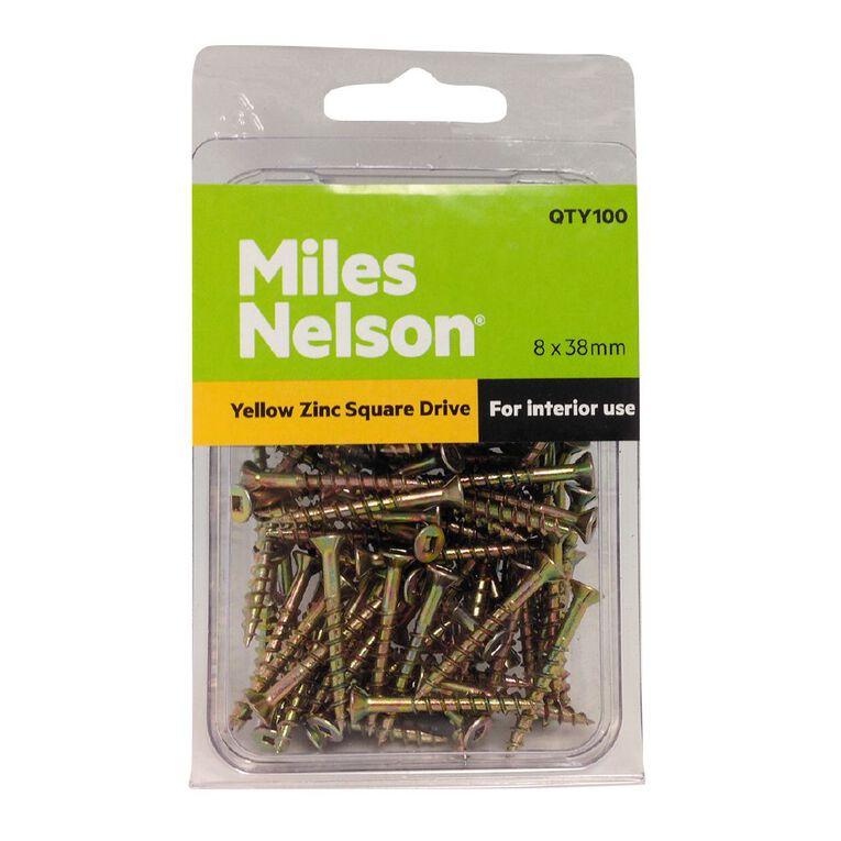 Miles Nelson Yellow Zinc Square Drive Screws 8mm x 38mm, , hi-res