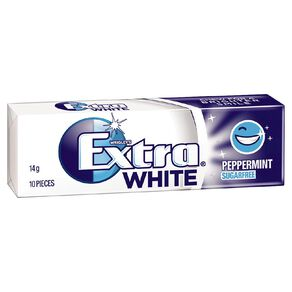 Extra White Peppermint Chewing Gum Sugar Free 10 Piece 14g