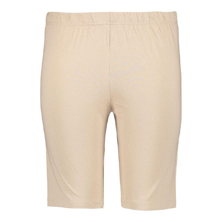 H&H Plus Women's Basic Legging Shorts, Beige, hi-res image number null