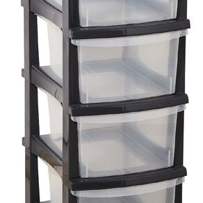 Taurus Storage Drawers Grey 4 Tier