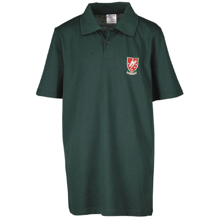 Schooltex Rangitikei College Short Sleeve Polo with Embroidery, Bottle Green, hi-res