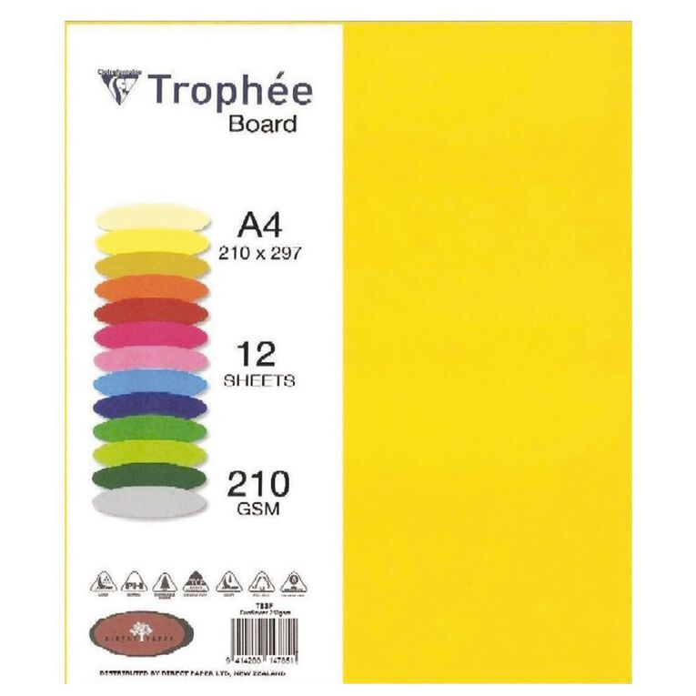 Trophee Board 210gsm 12 Pack Sunflower Yellow A4, , hi-res
