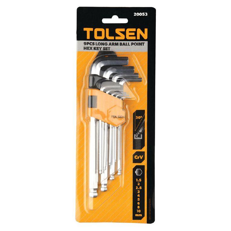 Tolsen Ball Point Long Arm Hex Key Set 9 Piece, , hi-res