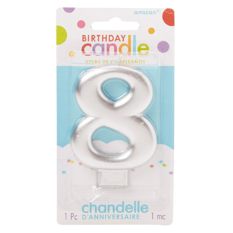 Candle Metallic Numeral #8 Silver, , hi-res