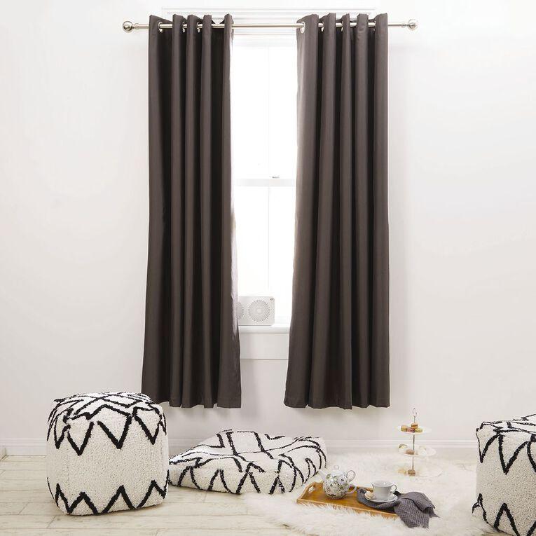 Living & Co Metro Eyelet Curtain Steel Grey 230-330cm Wide/160cm Drop, Grey, hi-res
