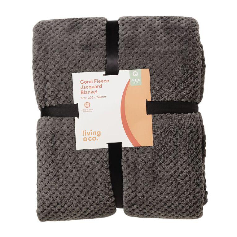 Living & Co Blanket Coral Fleece Jacquard Charcoal Queen, , hi-res