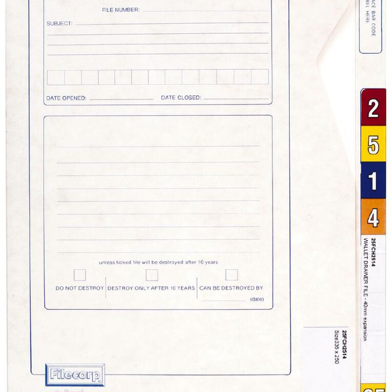 Filecorp Tab-Top Wallet File 2514 40mm Gusset White, , hi-res