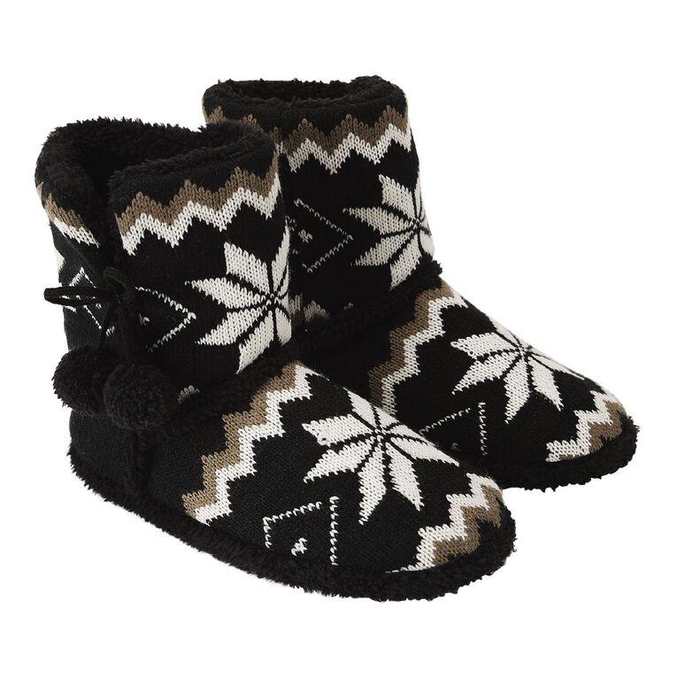 H&H Aztec Slipper Boots, Black, hi-res