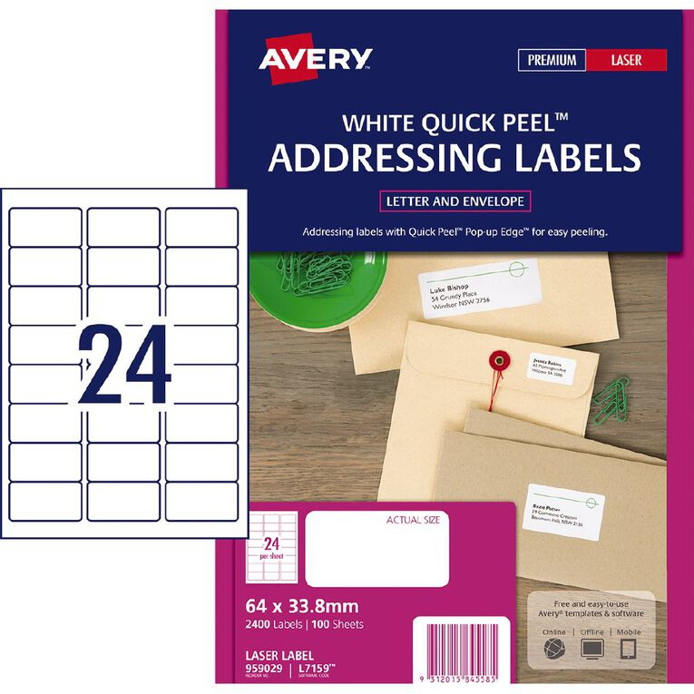 Avery Address Labels with Quick Peel White 2400 Labels, , hi-res