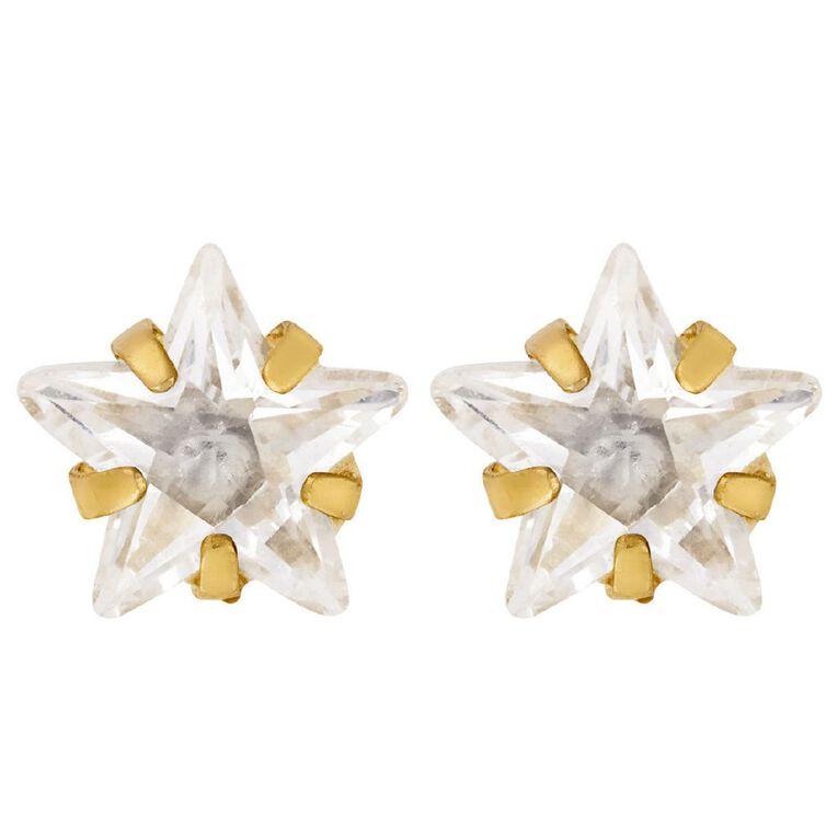 9ct Gold CZ Star 6mm Earrings, , hi-res