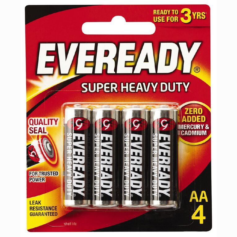 Eveready Super Heavy Duty Batteries AA 4 Pack, , hi-res