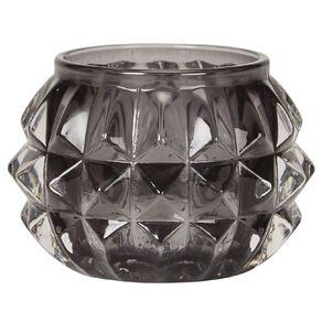 Living & Co Tealight Holder Glass Diamond Grey