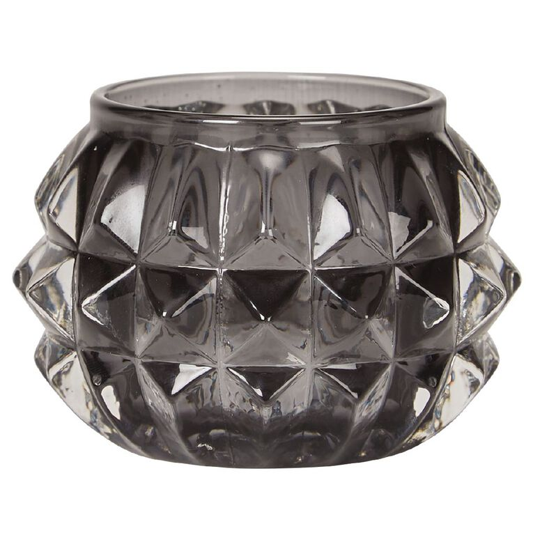 Living & Co Tealight Holder Glass Diamond Grey, , hi-res