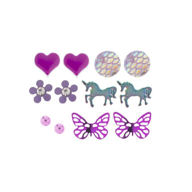 Kids Heart Butterfly Unicorn 6pr Earrings, Purple, hi-res