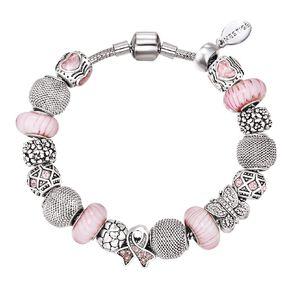 Mestige Silver Plated Pink Swarovski Crystal Gracious Bracelet