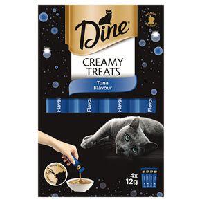 Dine Creamy Treats Cat Treats Tuna Flavour 4 x 12g Sachets