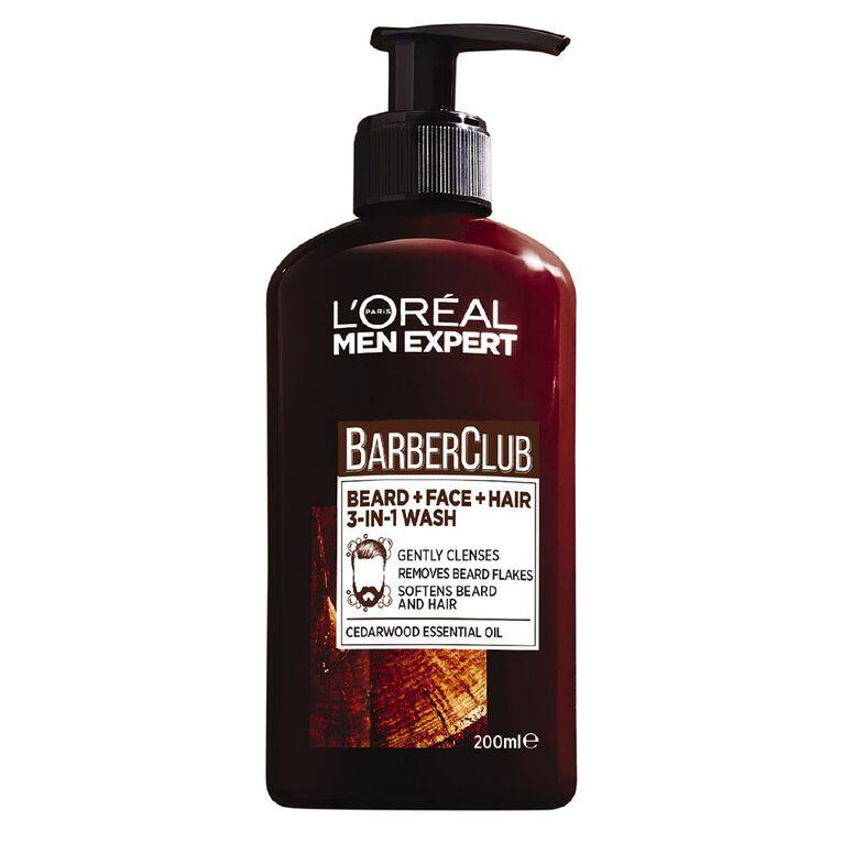 L'Oreal Paris Men Expert Barber Club Beard & Face & Hair Wash 200ml, , hi-res