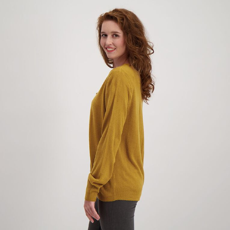 H&H Women's Button Through Cardigan, Yellow Dark, hi-res image number null