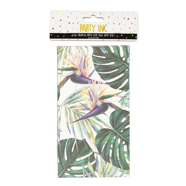 Party Inc Teal Tropical Paper Loot Bags with Seals 12cm x 22cm 8 Pack, , hi-res