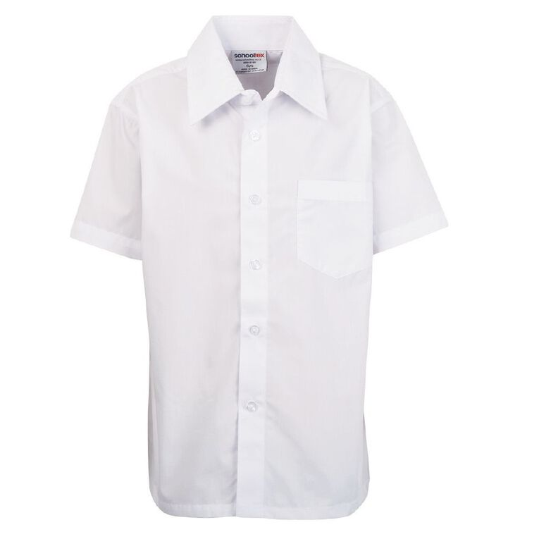 Schooltex Boys' Short Sleeve Shirt with Fused Collar, White, hi-res