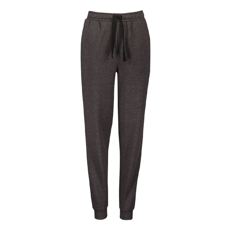Young Original Plain Rib Cuff Trackpants, Charcoal/Marle, hi-res