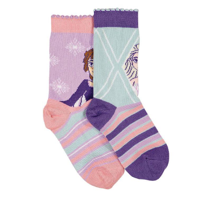 Frozen Kids' Crew Socks 2 Pack, Purple, hi-res