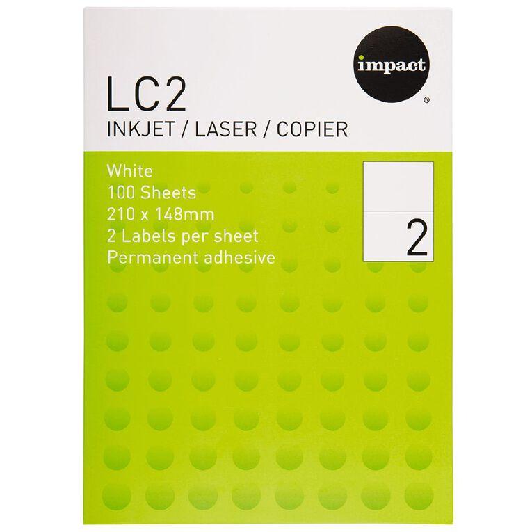 Impact Labels 100 Sheets A4/2 White, , hi-res