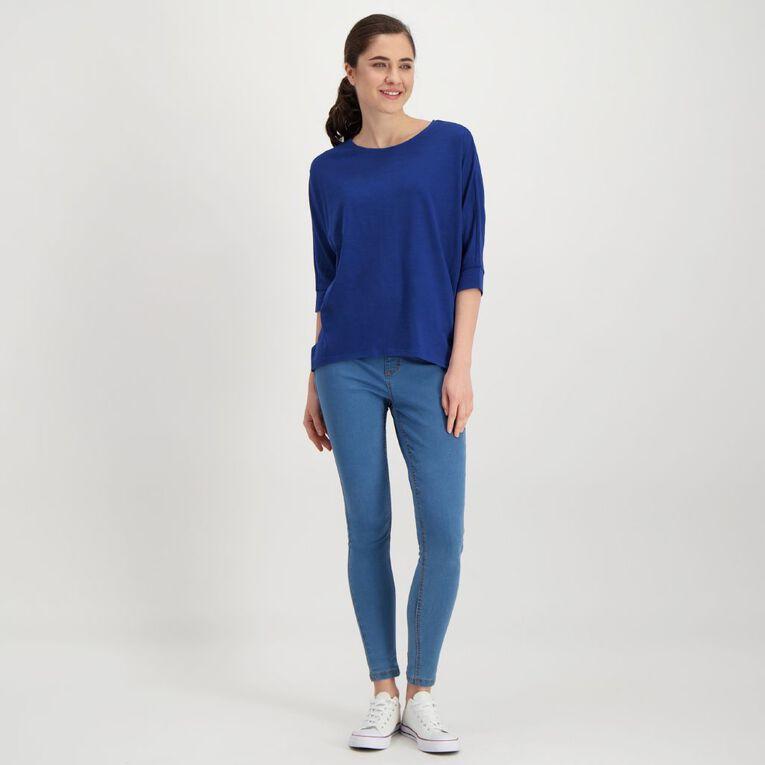 H&H Women's Slub Batwing Top, Blue Dark, hi-res image number null