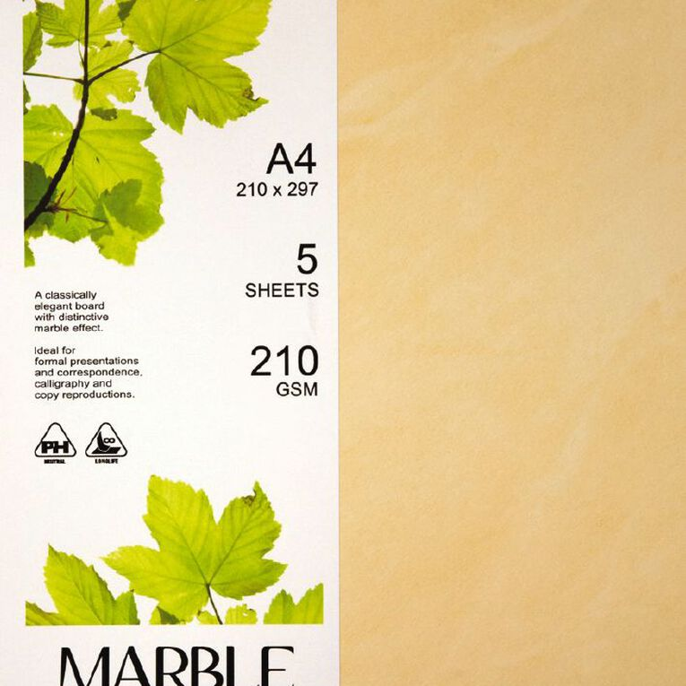 Direct Paper Marble Paper 210gsm 5 Pack Yellow A4, , hi-res