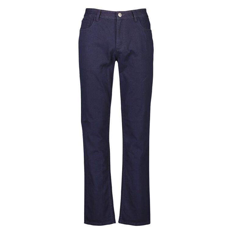 H&H Men's Straight Coloured Pants, Navy, hi-res