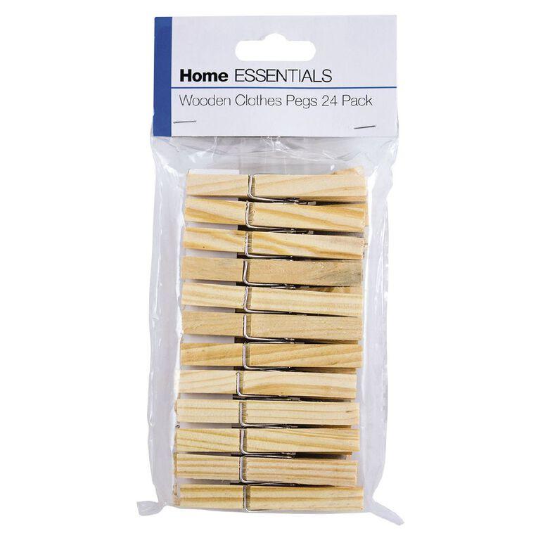 Home Essentials Wooden Clothes Pegs 24 Pack, , hi-res