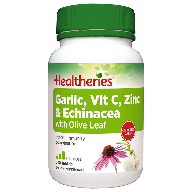Healtheries Garlic / Vitamin C / Zinc & Echinacea with Olive Leaf 200s, , hi-res